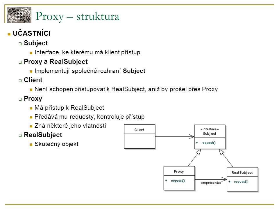 Proxy – struktura UČASTNÍCI  Subject Interface, ke kterému má klient přístup  Proxy a RealSubject Implementují společné rozhraní Subject  Client Není schopen přistupovat k RealSubject, aniž by prošel přes Proxy  Proxy Má přístup k RealSubject Předává mu requesty, kontroluje přístup Zná některé jeho vlatnosti  RealSubject Skutečný objekt