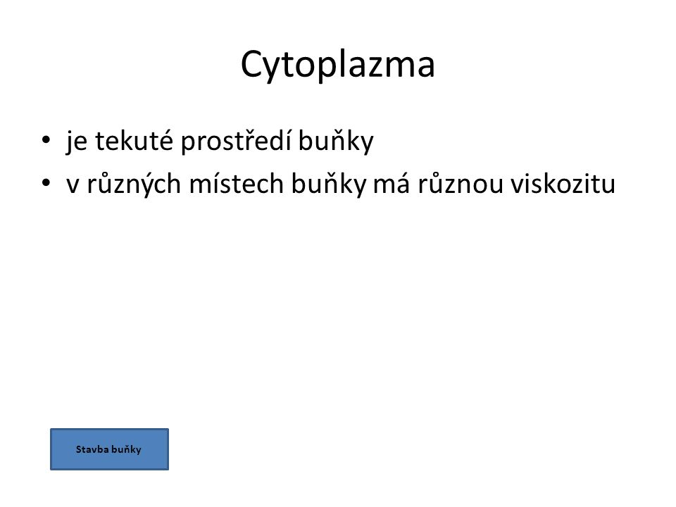 Cytoplazma je tekuté prostředí buňky v různých místech buňky má různou viskozitu Stavba buňky