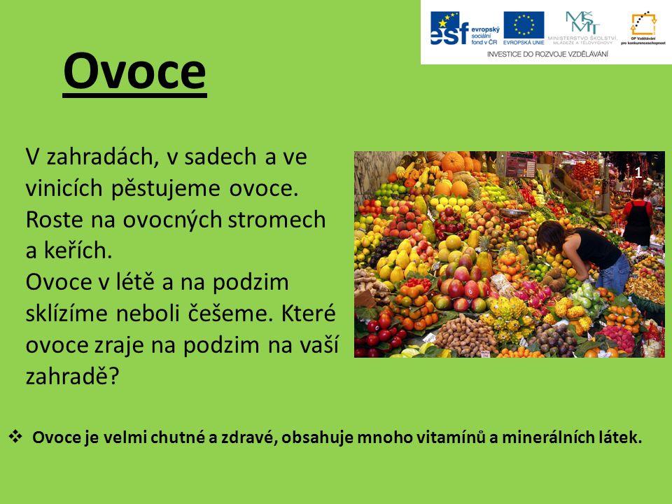 Ovoce V zahradách, v sadech a ve vinicích pěstujeme ovoce.