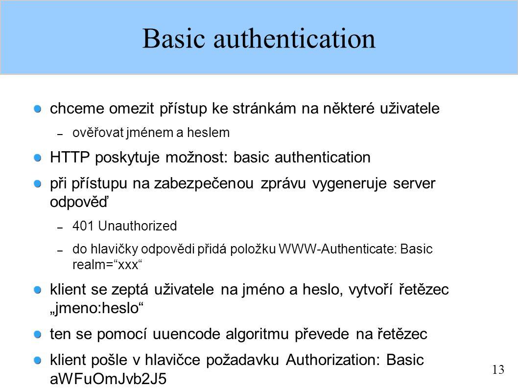 13 Basic authentication chceme omezit přístup ke stránkám na některé uživatele – ověřovat jménem a heslem HTTP poskytuje možnost: basic authentication
