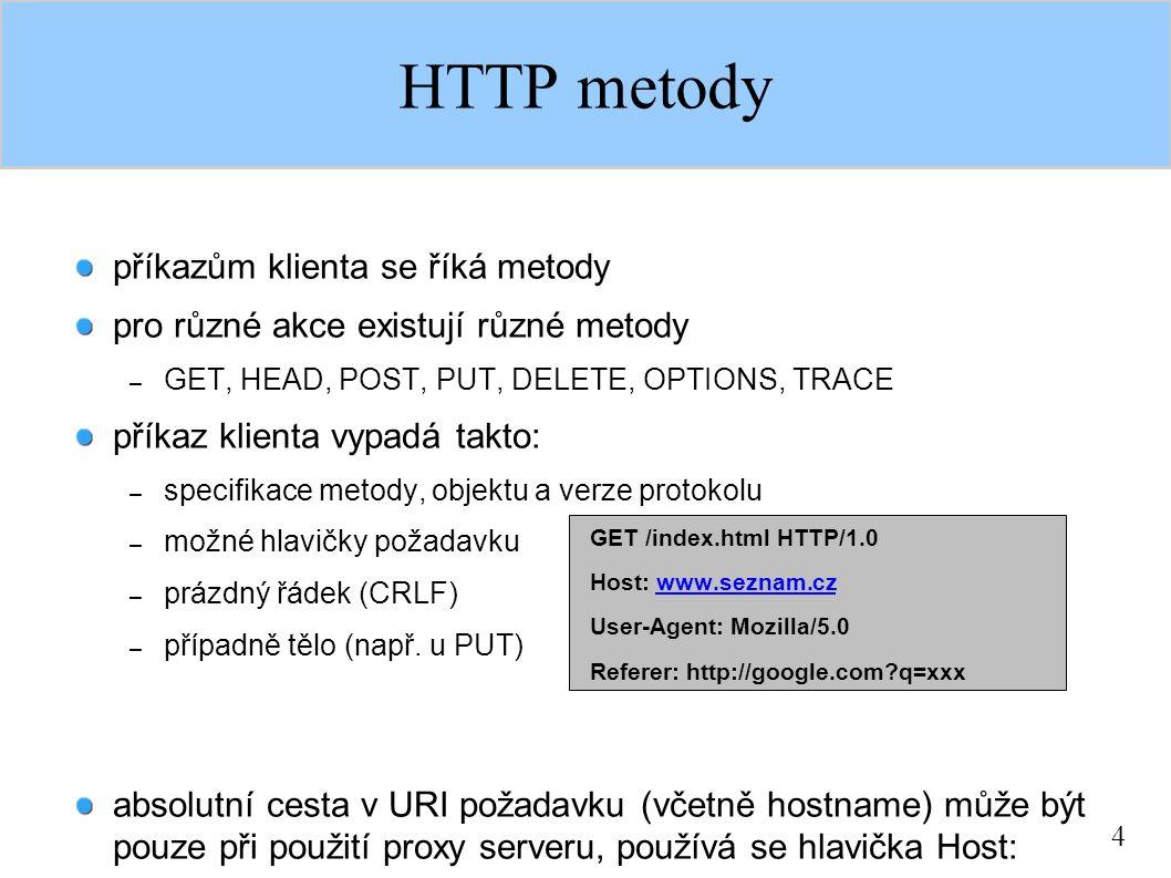 4 HTTP metody příkazům klienta se říká metody pro různé akce existují různé metody – GET, HEAD, POST, PUT, DELETE, OPTIONS, TRACE příkaz klienta vypad