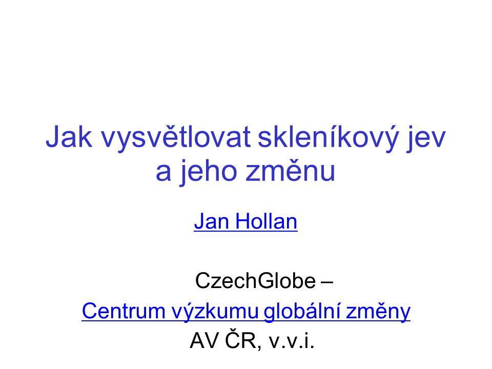 Jak vysvětlovat skleníkový jev a jeho změnu Jan Hollan CzechGlobe – Centrum výzkumu globální změny AV ČR, v.v.i.