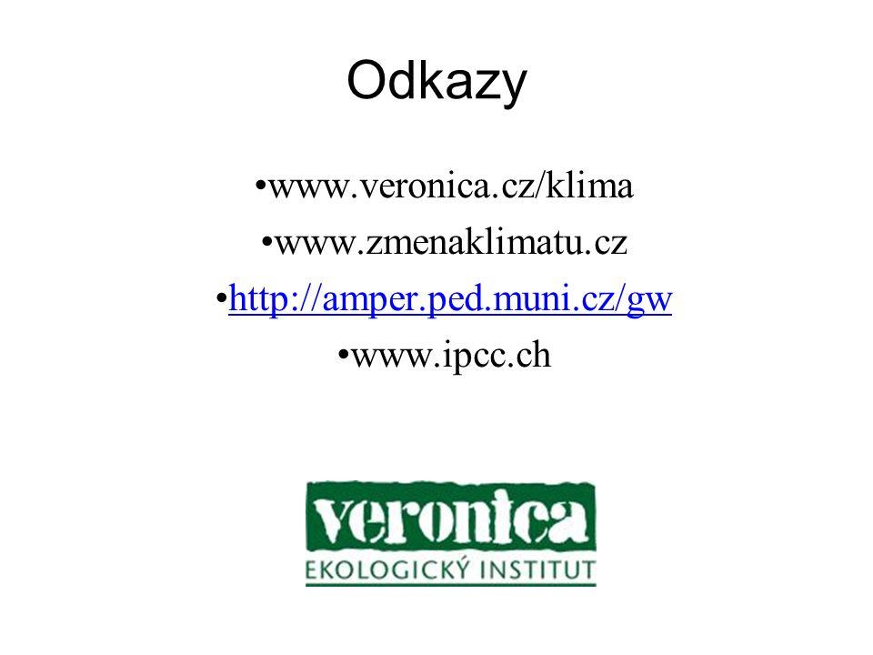 Odkazy www.veronica.cz/klima www.zmenaklimatu.cz http://amper.ped.muni.cz/gw www.ipcc.ch