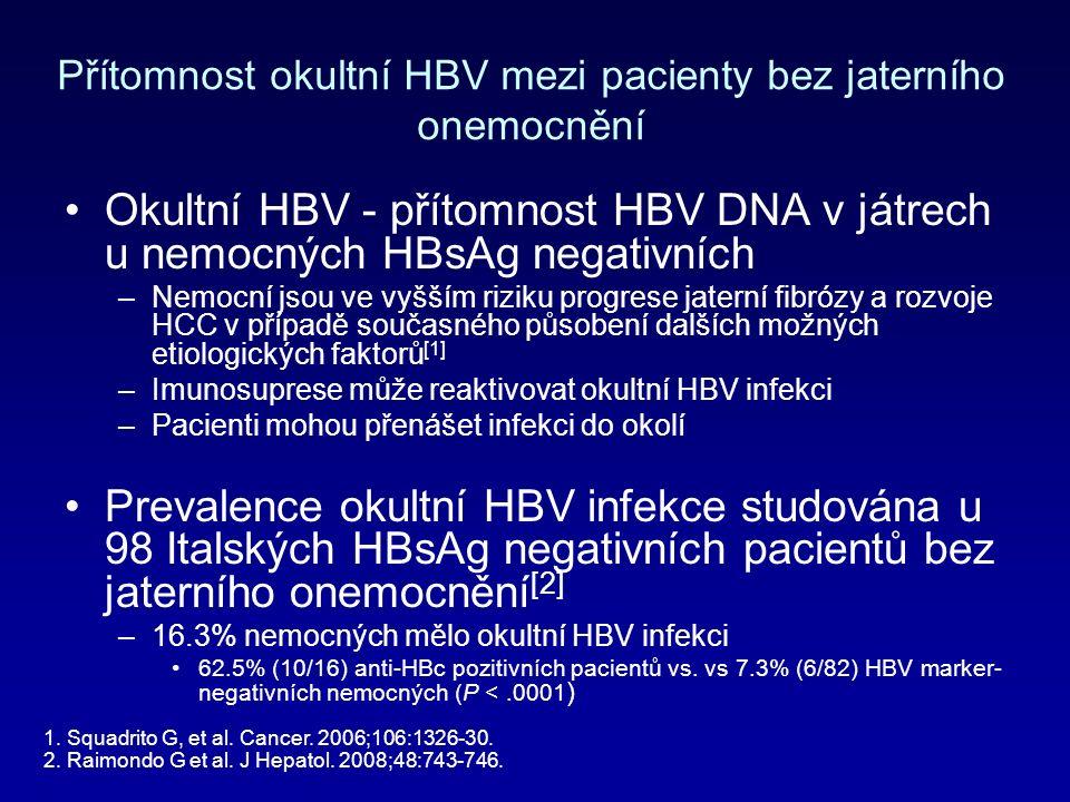 Přítomnost okultní HBV mezi pacienty bez jaterního onemocnění Okultní HBV - přítomnost HBV DNA v játrech u nemocných HBsAg negativních –Nemocní jsou ve vyšším riziku progrese jaterní fibrózy a rozvoje HCC v případě současného působení dalších možných etiologických faktorů [1] –Imunosuprese může reaktivovat okultní HBV infekci –Pacienti mohou přenášet infekci do okolí Prevalence okultní HBV infekce studována u 98 Italských HBsAg negativních pacientů bez jaterního onemocnění [2] –16.3% nemocných mělo okultní HBV infekci 62.5% (10/16) anti-HBc pozitivních pacientů vs.