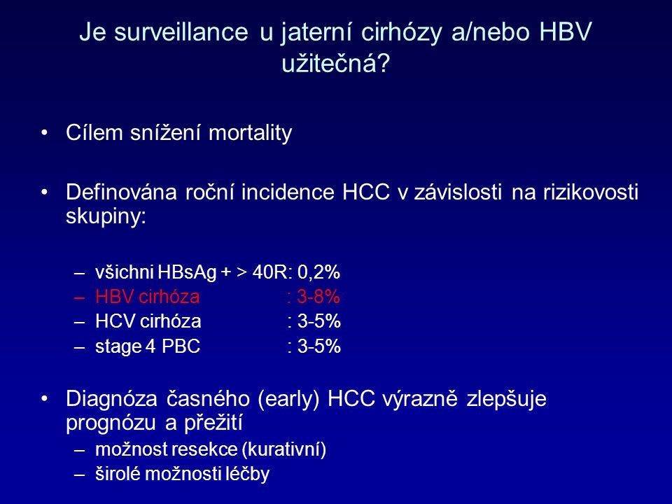 Je surveillance u jaterní cirhózy a/nebo HBV užitečná.