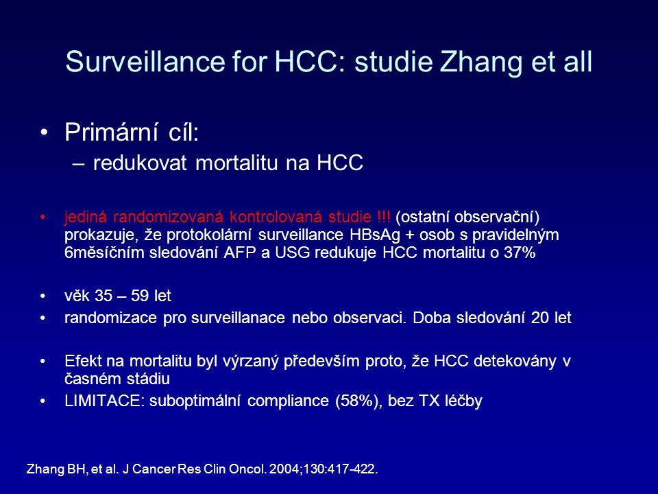 Surveillance for HCC: studie Zhang et all Primární cíl: –redukovat mortalitu na HCC jediná randomizovaná kontrolovaná studie !!.