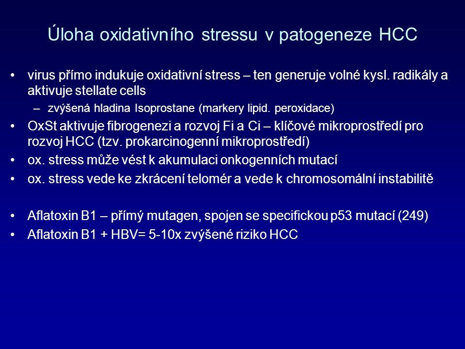 Úloha oxidativního stressu v patogeneze HCC virus přímo indukuje oxidativní stress – ten generuje volné kysl.