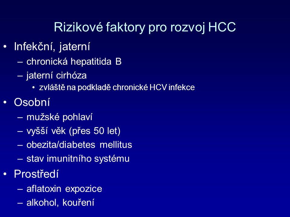 Rizikové faktory pro rozvoj HCC Infekční, jaterní –chronická hepatitida B –jaterní cirhóza zvláště na podkladě chronické HCV infekce Osobní –mužské pohlaví –vyšší věk (přes 50 let) –obezita/diabetes mellitus –stav imunitního systému Prostředí –aflatoxin expozice –alkohol, kouření