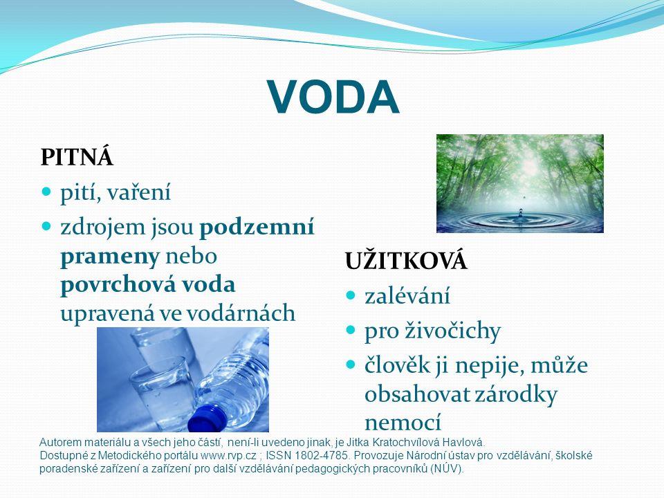 VODA PITNÁ pití, vaření zdrojem jsou podzemní prameny nebo povrchová voda upravená ve vodárnách UŽITKOVÁ zalévání pro živočichy člověk ji nepije, může