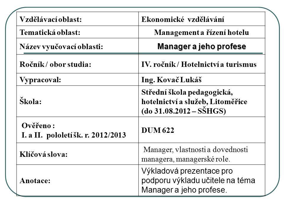Vzdělávací oblast:Ekonomické vzdělávání Tematická oblast:Management a řízení hotelu Název vyučovací oblasti: Manager a jeho profese Ročník / obor studia:IV.