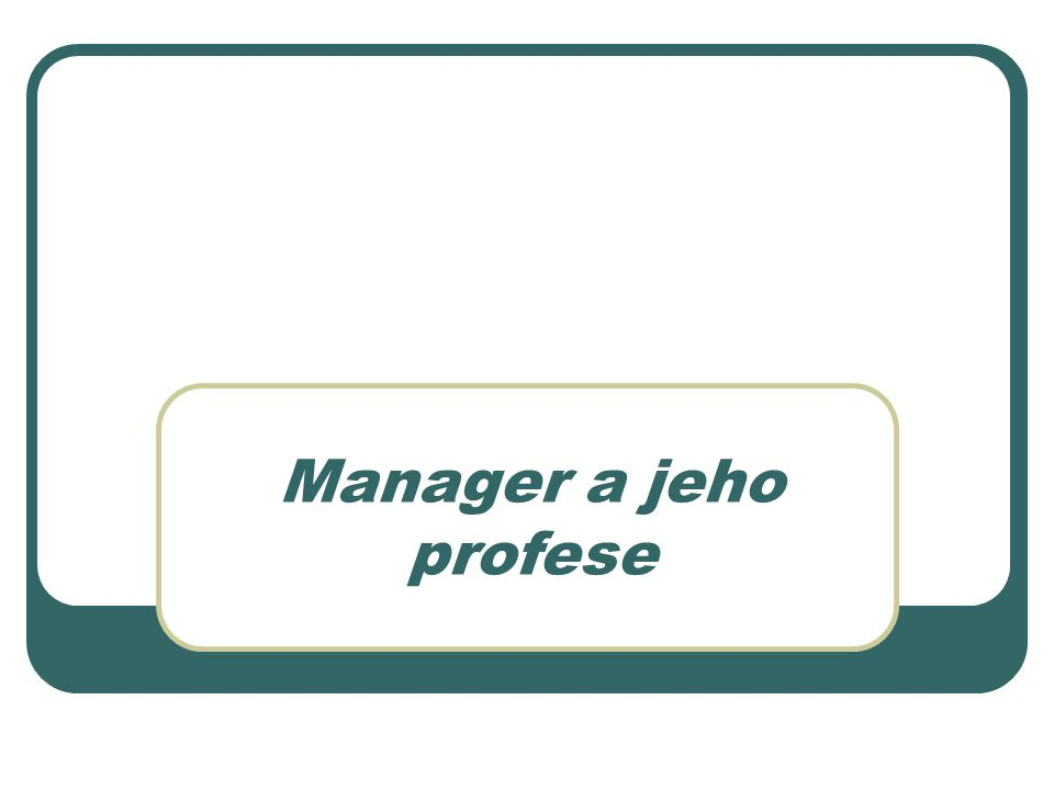 Manager a jeho profese