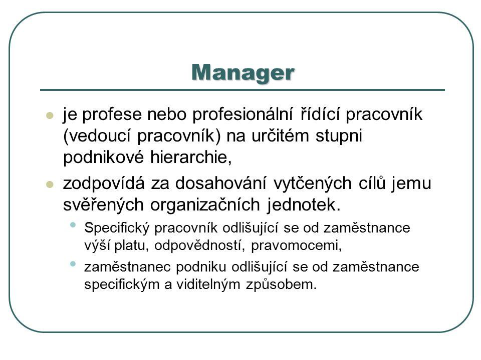 Manager je profese nebo profesionální řídící pracovník (vedoucí pracovník) na určitém stupni podnikové hierarchie, zodpovídá za dosahování vytčených cílů jemu svěřených organizačních jednotek.