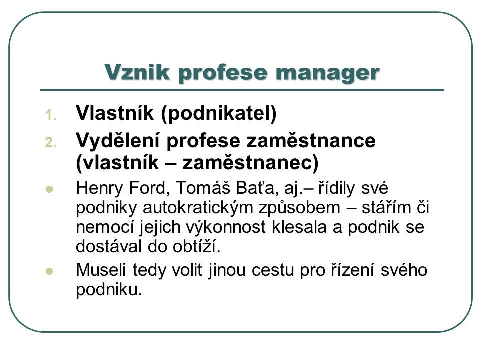 Vznik profese manager 1.Vlastník (podnikatel) 2.
