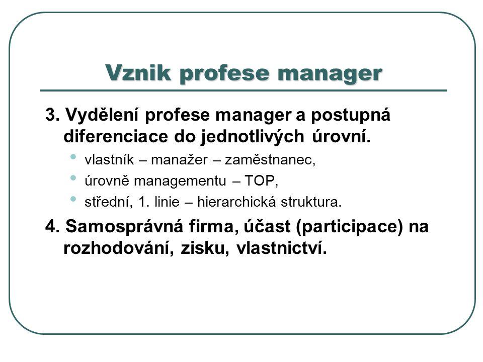 Vznik profese manager 3.Vydělení profese manager a postupná diferenciace do jednotlivých úrovní.