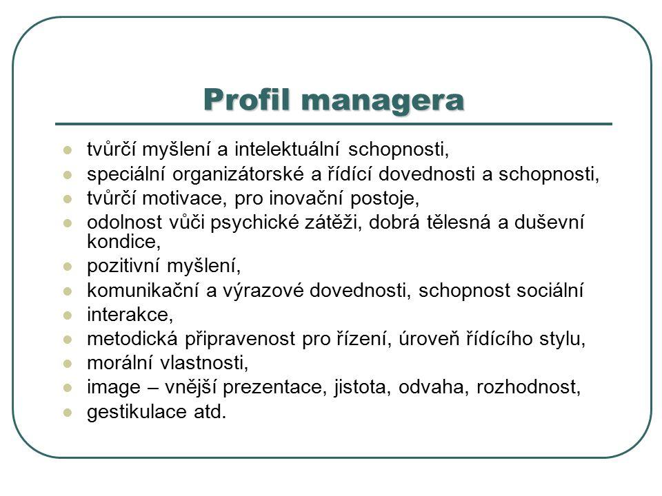 Profil managera tvůrčí myšlení a intelektuální schopnosti, speciální organizátorské a řídící dovednosti a schopnosti, tvůrčí motivace, pro inovační postoje, odolnost vůči psychické zátěži, dobrá tělesná a duševní kondice, pozitivní myšlení, komunikační a výrazové dovednosti, schopnost sociální interakce, metodická připravenost pro řízení, úroveň řídícího stylu, morální vlastnosti, image – vnější prezentace, jistota, odvaha, rozhodnost, gestikulace atd.