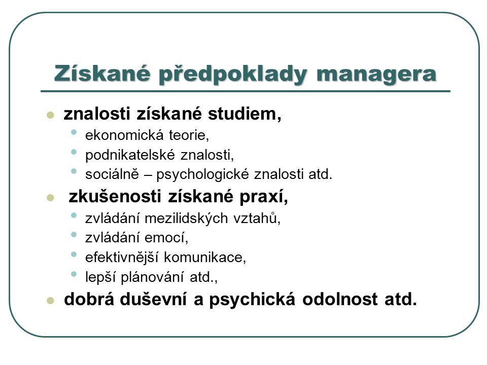 Získané předpoklady managera znalosti získané studiem, ekonomická teorie, podnikatelské znalosti, sociálně – psychologické znalosti atd.