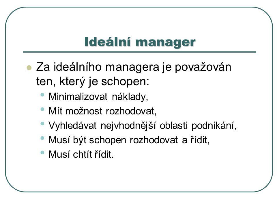 Ideální manager Za ideálního managera je považován ten, který je schopen: Minimalizovat náklady, Mít možnost rozhodovat, Vyhledávat nejvhodnější oblasti podnikání, Musí být schopen rozhodovat a řídit, Musí chtít řídit.