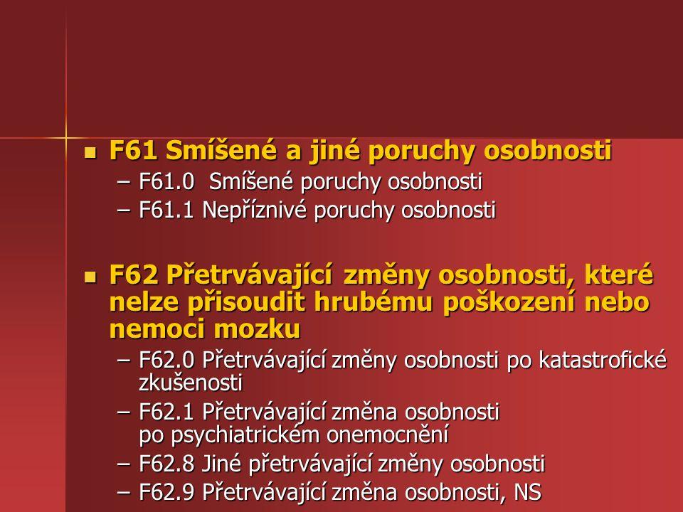 F61 Smíšené a jiné poruchy osobnosti F61 Smíšené a jiné poruchy osobnosti –F61.0 Smíšené poruchy osobnosti –F61.1 Nepříznivé poruchy osobnosti F62 Přetrvávající změny osobnosti, které nelze přisoudit hrubému poškození nebo nemoci mozku F62 Přetrvávající změny osobnosti, které nelze přisoudit hrubému poškození nebo nemoci mozku –F62.0 Přetrvávající změny osobnosti po katastrofické zkušenosti –F62.1 Přetrvávající změna osobnosti po psychiatrickém onemocnění –F62.8 Jiné přetrvávající změny osobnosti –F62.9 Přetrvávající změna osobnosti, NS