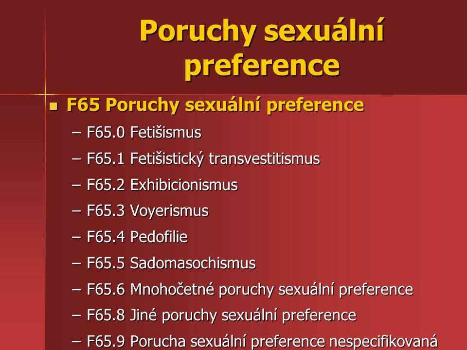 Poruchy sexuální preference F65 Poruchy sexuální preference F65 Poruchy sexuální preference –F65.0 Fetišismus –F65.1 Fetišistický transvestitismus –F65.2 Exhibicionismus –F65.3 Voyerismus –F65.4 Pedofilie –F65.5 Sadomasochismus –F65.6 Mnohočetné poruchy sexuální preference –F65.8 Jiné poruchy sexuální preference –F65.9 Porucha sexuální preference nespecifikovaná