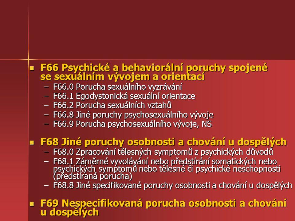 F66 Psychické a behaviorální poruchy spojené se sexuálním vývojem a orientací F66 Psychické a behaviorální poruchy spojené se sexuálním vývojem a orientací –F66.0 Porucha sexuálního vyzrávání –F66.1 Egodystonická sexuální orientace –F66.2 Porucha sexuálních vztahů –F66.8 Jiné poruchy psychosexuálního vývoje –F66.9 Porucha psychosexuálního vývoje, NS F68 Jiné poruchy osobnosti a chování u dospělých F68 Jiné poruchy osobnosti a chování u dospělých –F68.0 Zpracování tělesných symptomů z psychických důvodů –F68.1 Záměrné vyvolávání nebo předstírání somatických nebo psychických symptomů nebo tělesné či psychické neschopnosti (předstíraná porucha) –F68.8 Jiné specifikované poruchy osobnosti a chování u dospělých F69 Nespecifikovaná porucha osobnosti a chování u dospělých F69 Nespecifikovaná porucha osobnosti a chování u dospělých