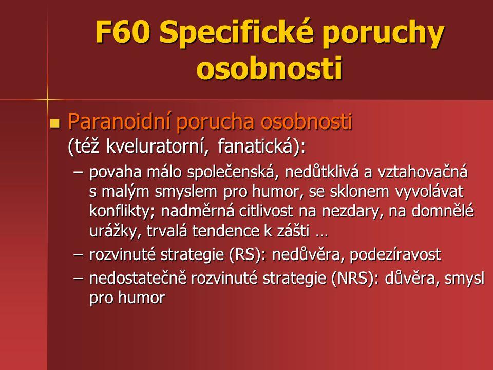 F60 Specifické poruchy osobnosti Paranoidní porucha osobnosti (též kveluratorní, fanatická): Paranoidní porucha osobnosti (též kveluratorní, fanatická