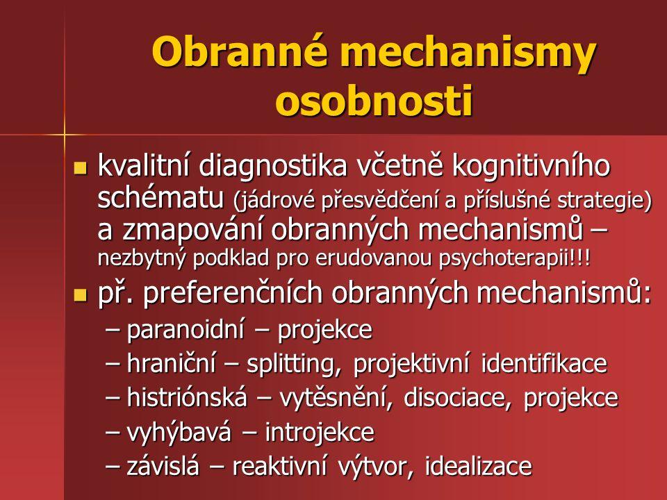 Obranné mechanismy osobnosti kvalitní diagnostika včetně kognitivního schématu (jádrové přesvědčení a příslušné strategie) a zmapování obranných mecha