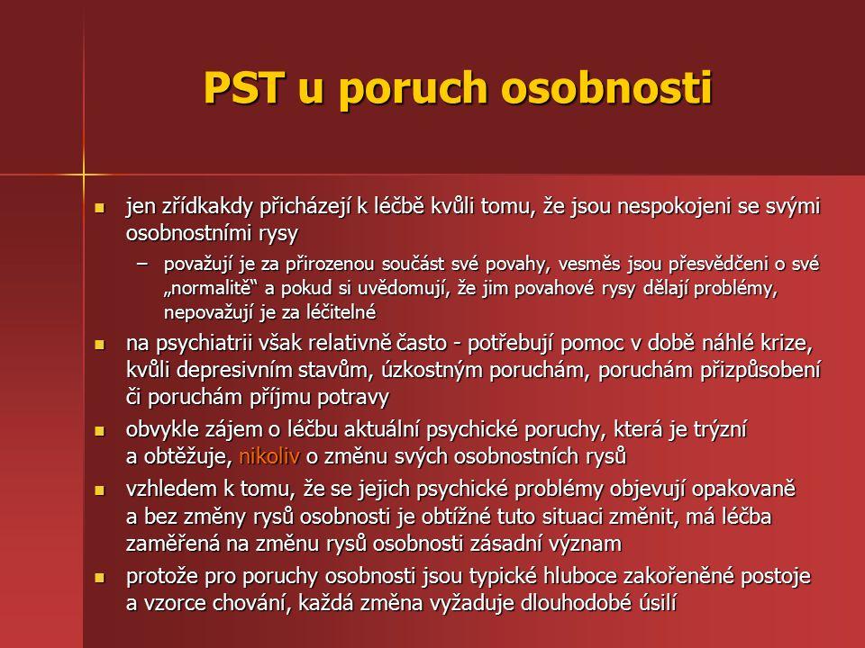 PST u poruch osobnosti jen zřídkakdy přicházejí k léčbě kvůli tomu, že jsou nespokojeni se svými osobnostními rysy jen zřídkakdy přicházejí k léčbě kv