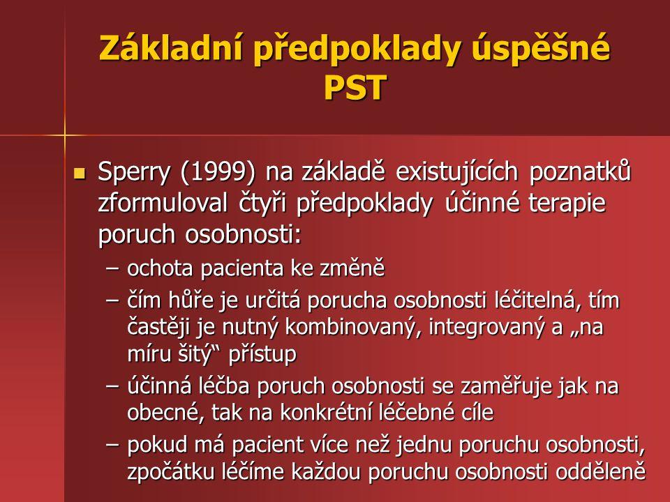 Základní předpoklady úspěšné PST Sperry (1999) na základě existujících poznatků zformuloval čtyři předpoklady účinné terapie poruch osobnosti: Sperry