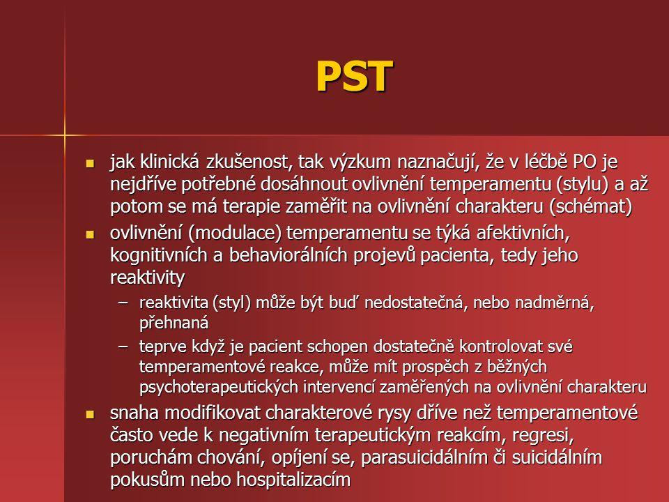 PST jak klinická zkušenost, tak výzkum naznačují, že v léčbě PO je nejdříve potřebné dosáhnout ovlivnění temperamentu (stylu) a až potom se má terapie