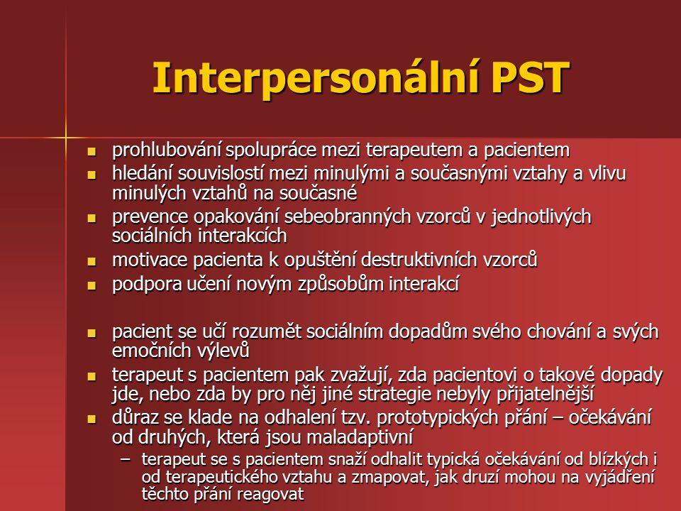 Interpersonální PST prohlubování spolupráce mezi terapeutem a pacientem prohlubování spolupráce mezi terapeutem a pacientem hledání souvislostí mezi m