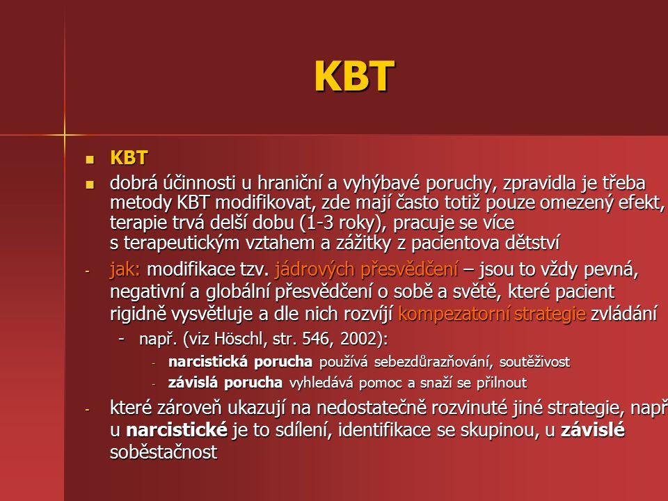 KBT KBT KBT dobrá účinnosti u hraniční a vyhýbavé poruchy, zpravidla je třeba metody KBT modifikovat, zde mají často totiž pouze omezený efekt, terapi