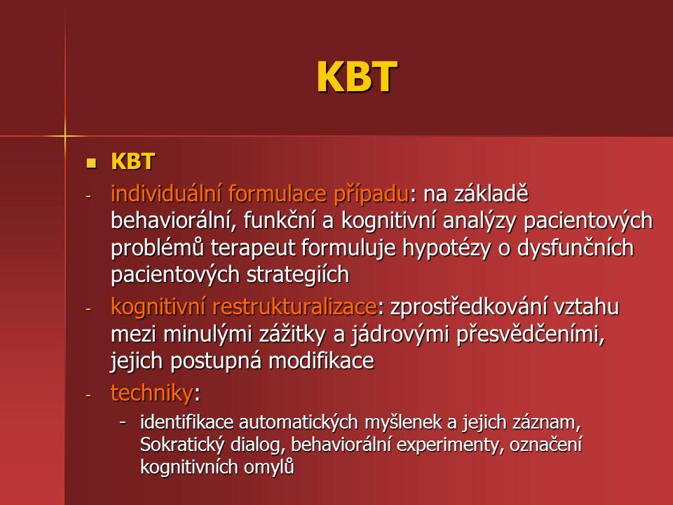KBT KBT KBT - individuální formulace případu: na základě behaviorální, funkční a kognitivní analýzy pacientových problémů terapeut formuluje hypotézy