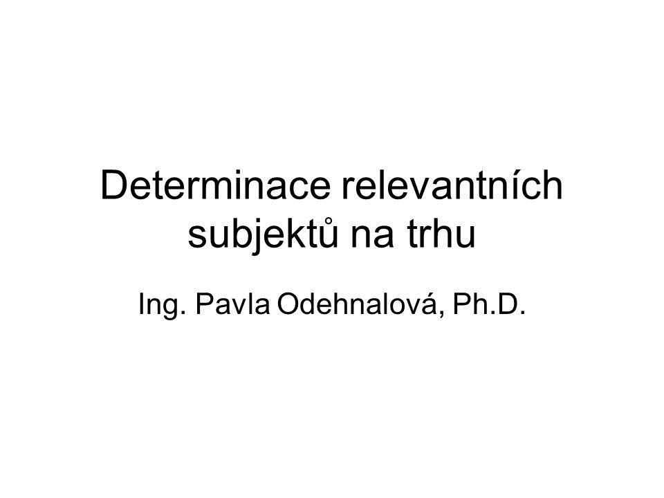 Determinace relevantních subjektů na trhu Ing. Pavla Odehnalová, Ph.D.