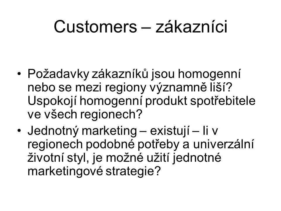 Customers – zákazníci Požadavky zákazníků jsou homogenní nebo se mezi regiony významně liší? Uspokojí homogenní produkt spotřebitele ve všech regionec