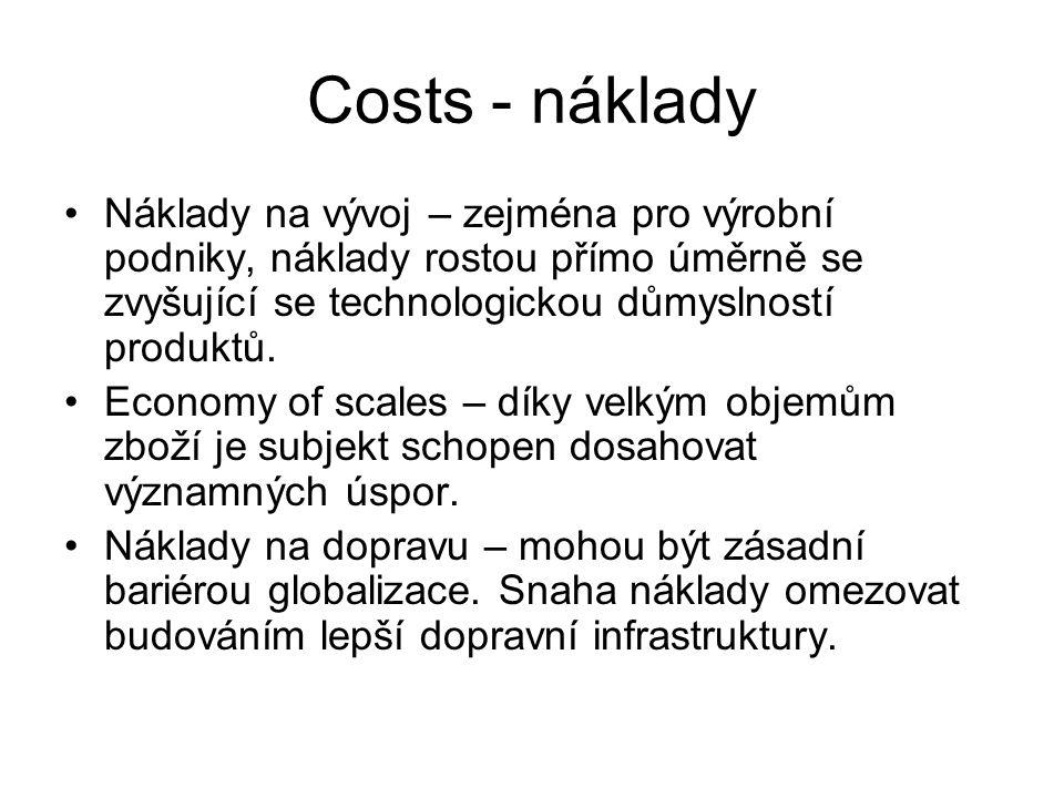 Costs - náklady Náklady na vývoj – zejména pro výrobní podniky, náklady rostou přímo úměrně se zvyšující se technologickou důmyslností produktů.