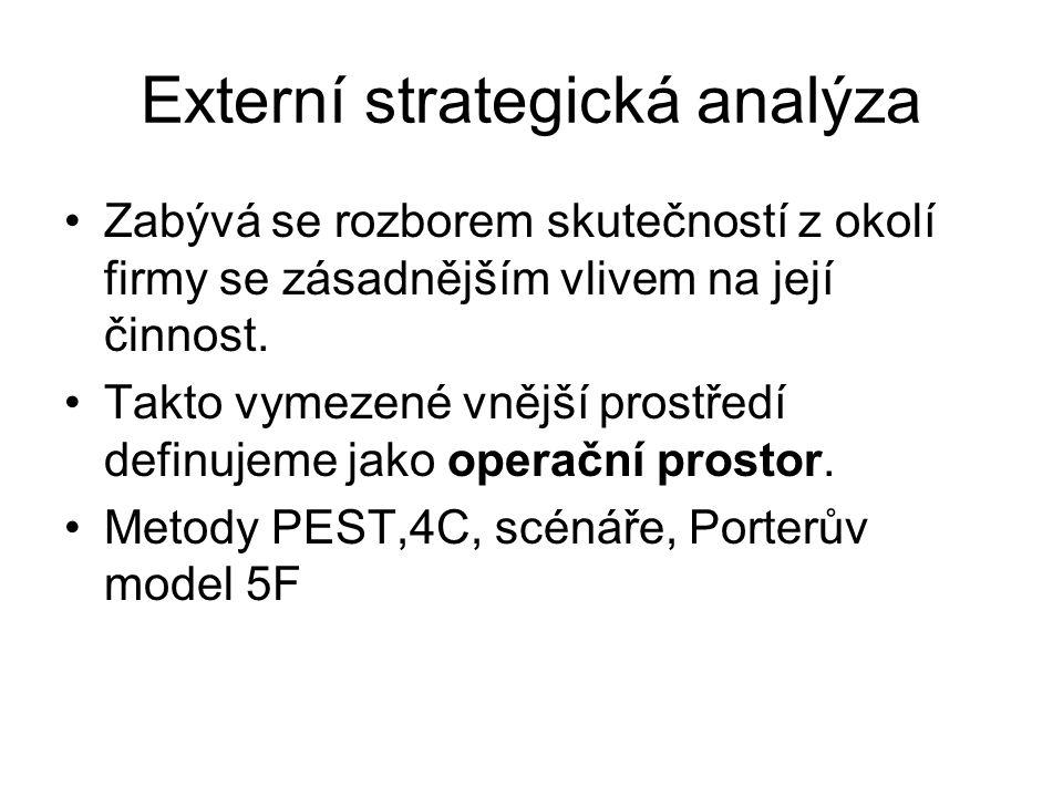 Externí strategická analýza Zabývá se rozborem skutečností z okolí firmy se zásadnějším vlivem na její činnost.