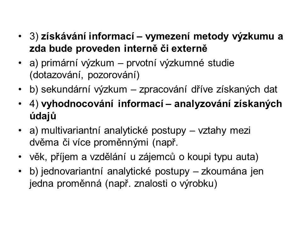 3) získávání informací – vymezení metody výzkumu a zda bude proveden interně či externě a) primární výzkum – prvotní výzkumné studie (dotazování, pozo