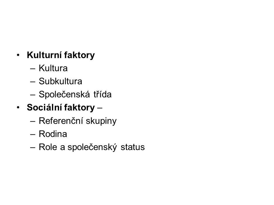 Kulturní faktory –Kultura –Subkultura –Společenská třída Sociální faktory – –Referenční skupiny –Rodina –Role a společenský status