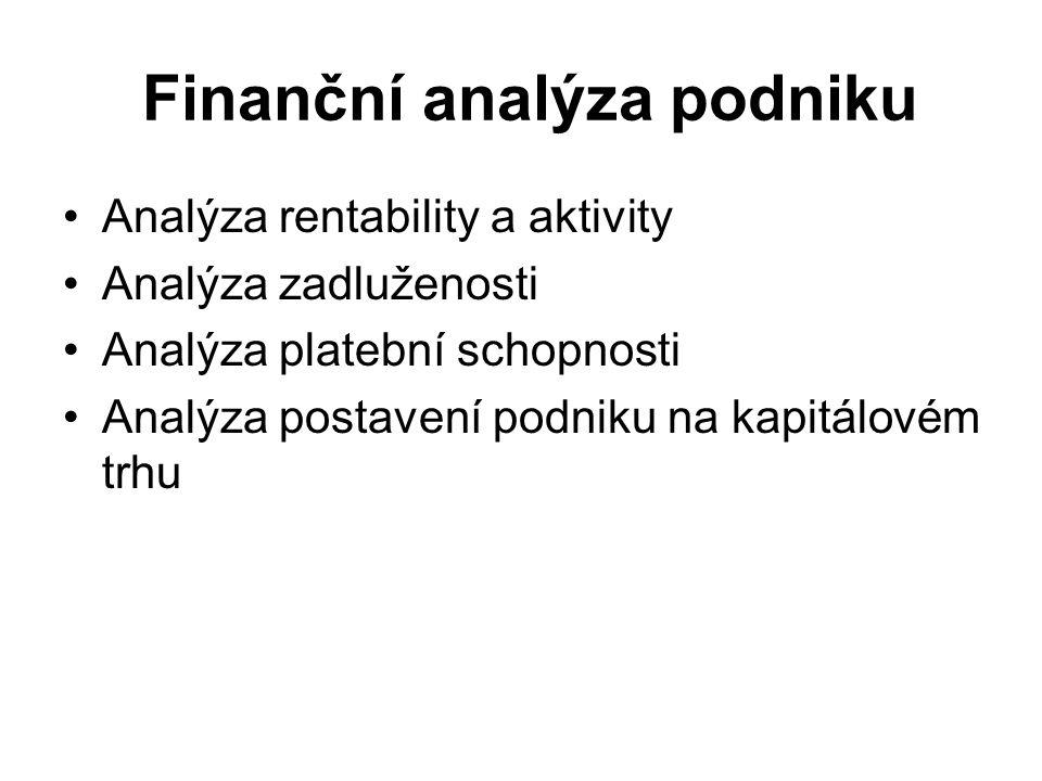 Finanční analýza podniku Analýza rentability a aktivity Analýza zadluženosti Analýza platební schopnosti Analýza postavení podniku na kapitálovém trhu