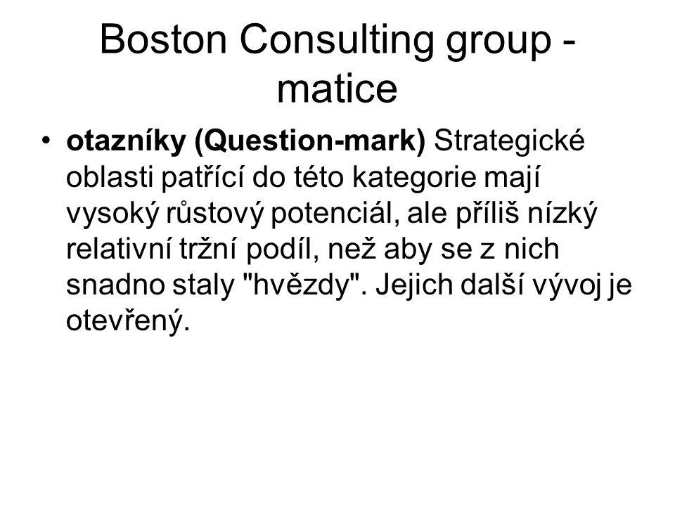 Boston Consulting group - matice otazníky (Question-mark) Strategické oblasti patřící do této kategorie mají vysoký růstový potenciál, ale příliš nízký relativní tržní podíl, než aby se z nich snadno staly hvězdy .