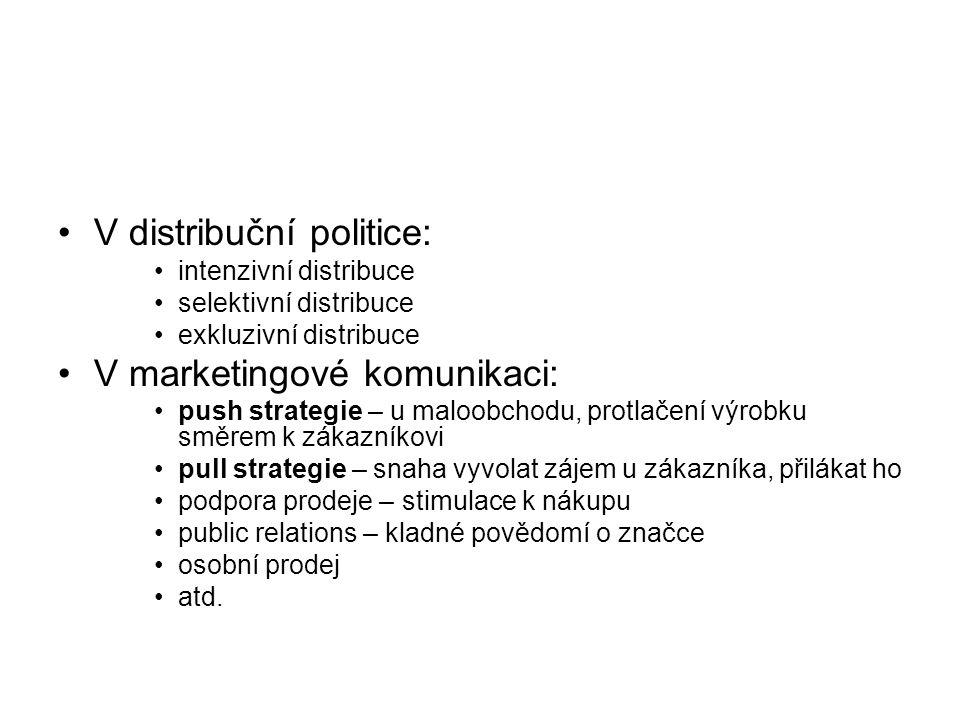 V distribuční politice: intenzivní distribuce selektivní distribuce exkluzivní distribuce V marketingové komunikaci: push strategie – u maloobchodu, p