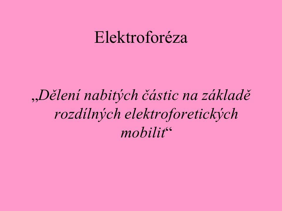 """Elektroforéza """"Dělení nabitých částic na základě rozdílných elektroforetických mobilit"""