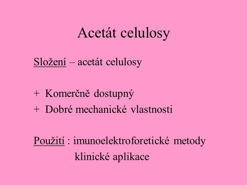 Acetát celulosy Složení – acetát celulosy + Komerčně dostupný + Dobré mechanické vlastnosti Použití : imunoelektroforetické metody klinické aplikace