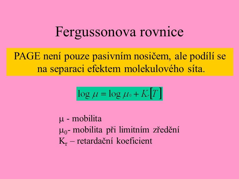 Fergussonova rovnice PAGE není pouze pasivním nosičem, ale podílí se na separaci efektem molekulového síta.