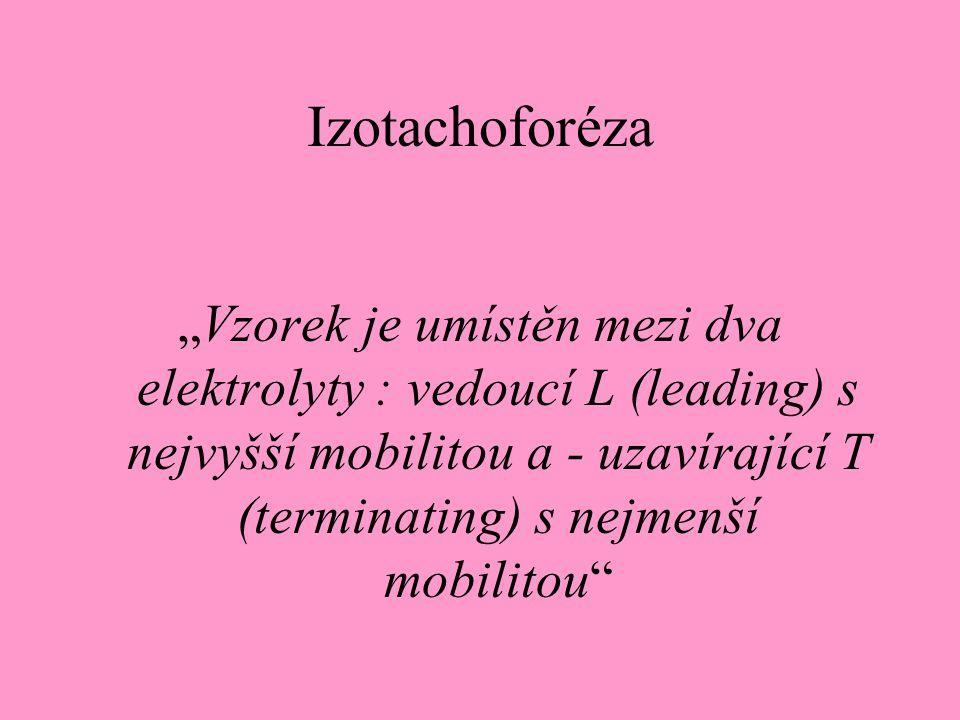 """Izotachoforéza """"Vzorek je umístěn mezi dva elektrolyty : vedoucí L (leading) s nejvyšší mobilitou a - uzavírající T (terminating) s nejmenší mobilitou"""