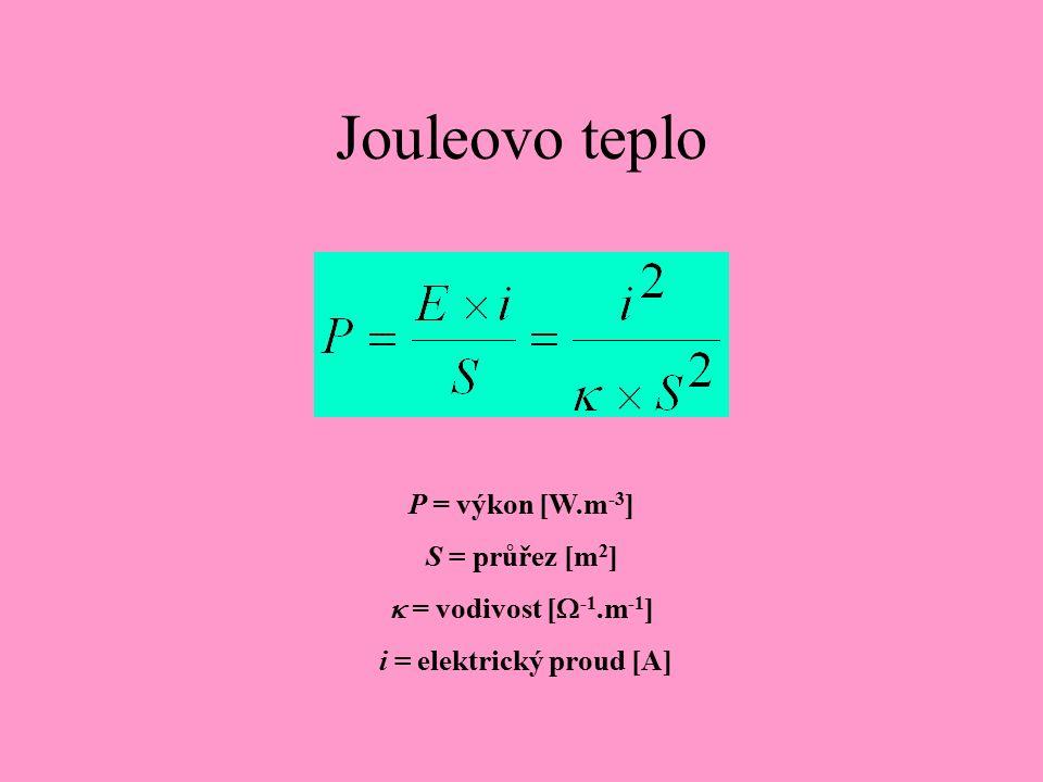 Jouleovo teplo P = výkon [W.m -3 ] S = průřez [m 2 ]  = vodivost [  -1.m -1 ] i = elektrický proud [A]