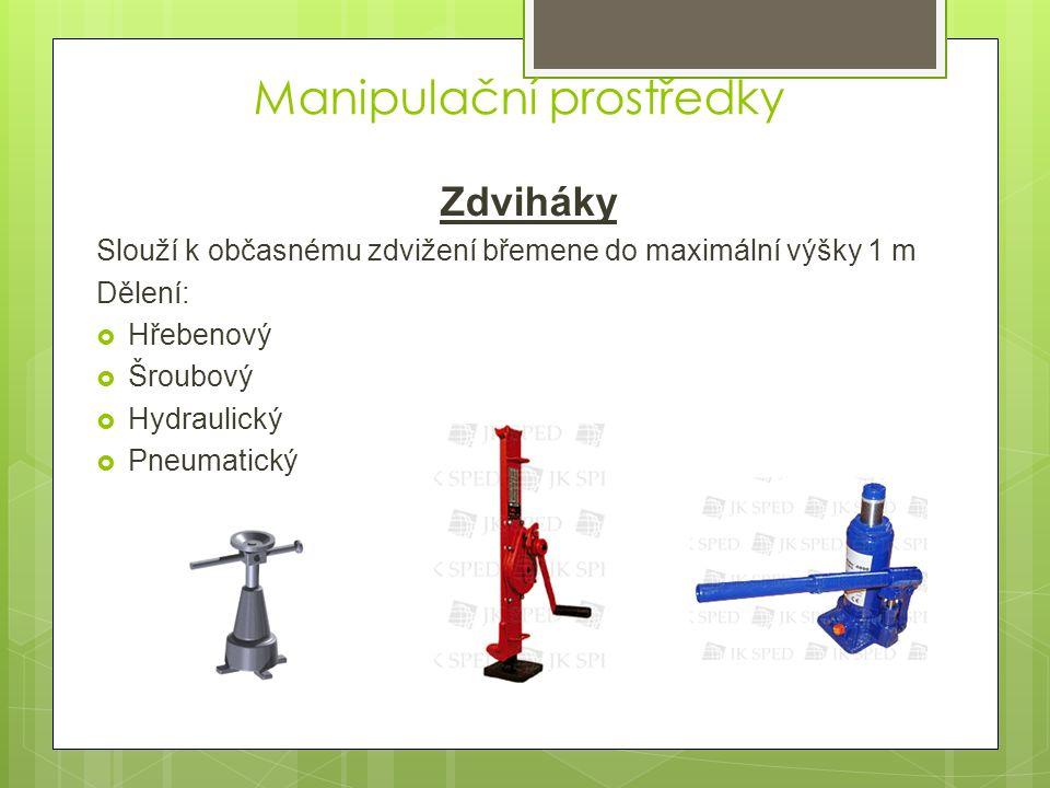 Manipulační prostředky Zdviháky Slouží k občasnému zdvižení břemene do maximální výšky 1 m Dělení:  Hřebenový  Šroubový  Hydraulický  Pneumatický