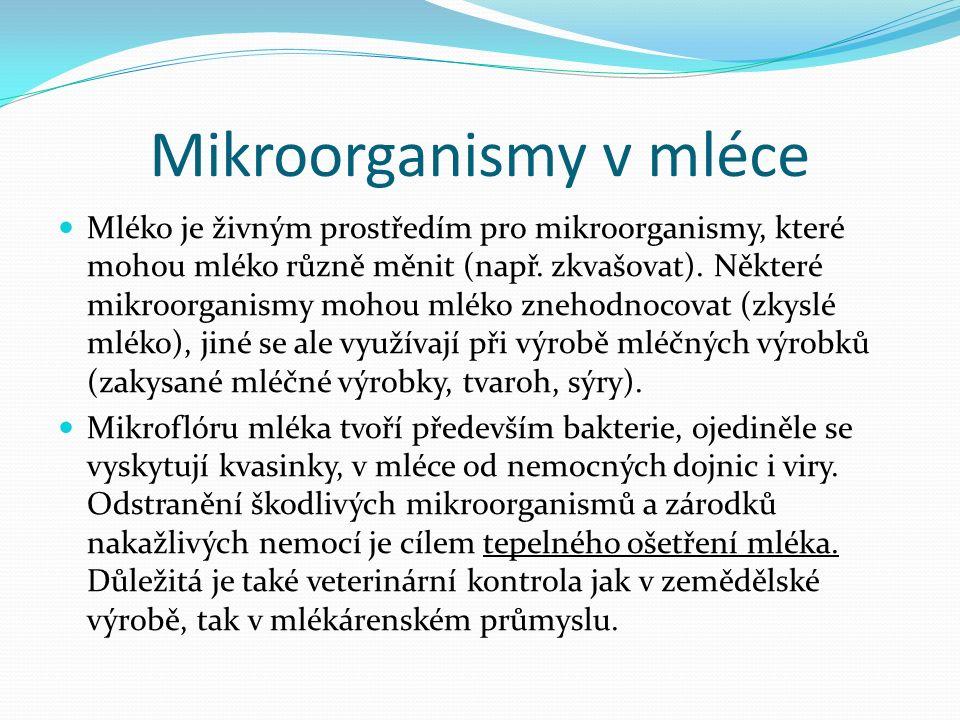 Mikroorganismy v mléce Mléko je živným prostředím pro mikroorganismy, které mohou mléko různě měnit (např.
