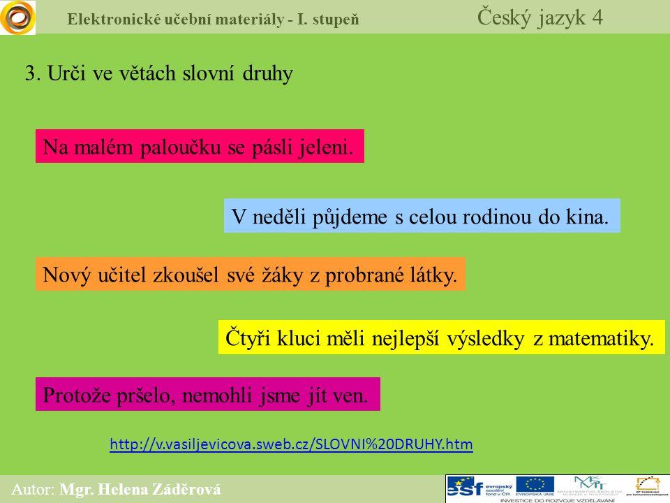 Elektronické učební materiály - I. stupeň Český jazyk 4 Autor: Mgr. Helena Záděrová 3. Urči ve větách slovní druhy Na malém paloučku se pásli jeleni.