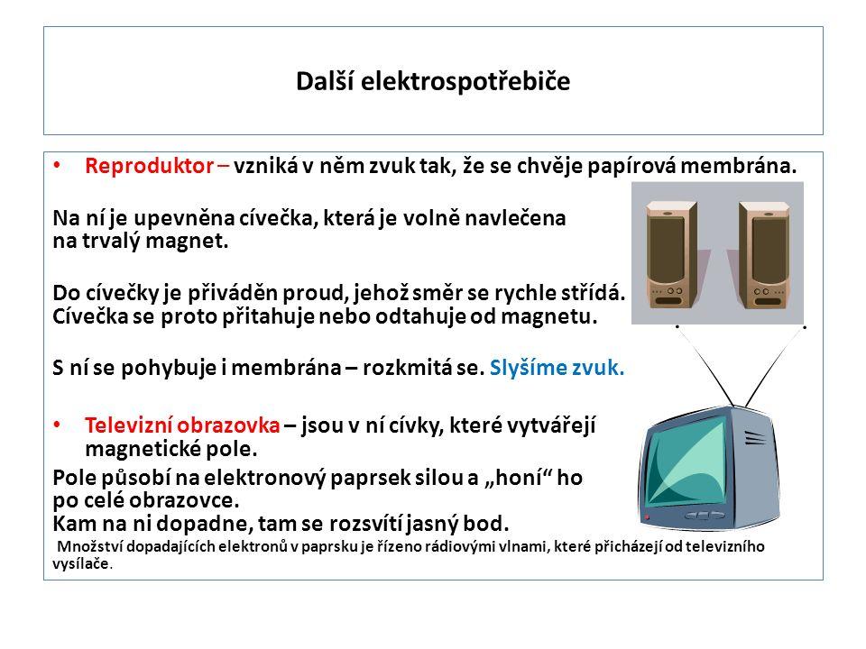 Reproduktor – vzniká v něm zvuk tak, že se chvěje papírová membrána.
